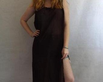 Vintage dress tunic kaftan loose oversized brown free size 10-18