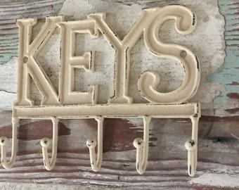 Key Hook -Decorative Wall Hook - Key Holder - Organization -  Cream - Rustic - Mudroom - Key Hook - Kitchen Decor