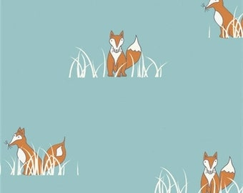 Fox Fabric - Birch Organic Cotton Fabric - Sly Fox-Camp Sur Poplin Collection - Animal Fabric - Nursery Fabric