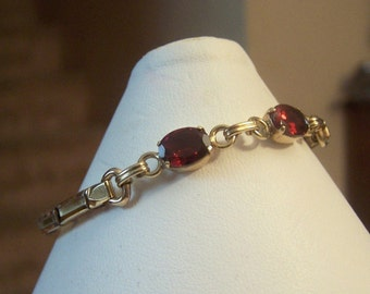 2 Stone Genuine Garnet Gemstone Gold Filled Expandable Bracelet Authentic Vintage Artisan Altered