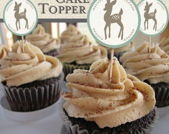 Dear Deer printable cupcake toppers. Instant download.
