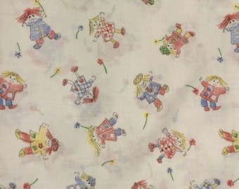 Cotton Fabric / Vintage Fabric / Crayon Drawing Fabric/ Girls Cotton Fabric / 1 Yard