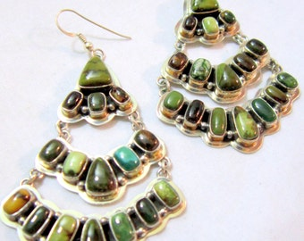 Navajo~EMMA LINCOLN~ Brown/Green~Fox Turquoise~Chevron Design~925 Earrings