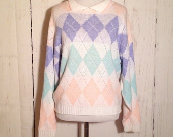 Vintage 80s Pastel Knit Preppy Sweater - Small