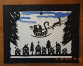 Retro Papercut Santa Sleigh Village Scherenschnitte Wall Art