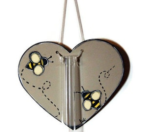 Wall vase hanging with little bees - Door hanger vase - Vase for one flower - Hanger vase with bee