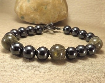 Mens Labradorite and Hematite Bracelet - Deflect Negative Energy Root Chakra Grounding Balancing - Reiki Infused Stone Jewelry
