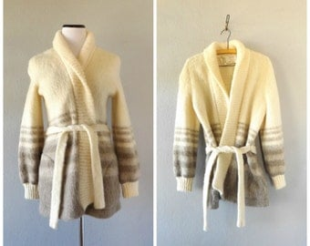 Striped Iceland Wrap Cardigan Sweater Vintage 70s Womens Small Belted Boyfriend Jacket Coat Hippie Boho Fuzzy Winter Top 1970s Basic Hipster