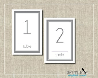 Modern Gray Table Numbers - 4x6 Elegant Printable Table Numbers 1-30 - Purple and Grey - Event Table Numbers - Instant Download