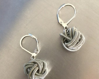 Silver knot Piano Wire Earrings