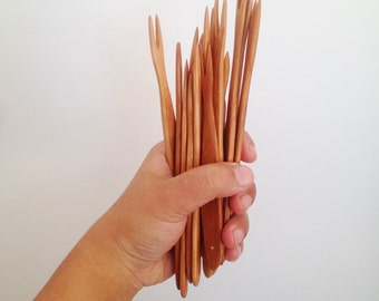 Pickle Forks made with salvaged hardwoods and recycled copper