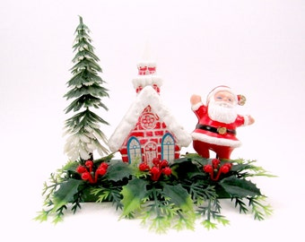 Plastic Santa Church Christmas Decoration Mid Century Kitsch Christmas Centerpiece 1970s