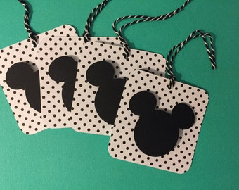 4 Mickey gift tags, Mickey party tags, 3 x 3 inch tags  READY TO SHIP