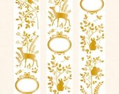 Designer made washi paper masking tape -Limited Edition Limited Edition Golden Bronzing forest  Animal gold Flowers 1 ROLL