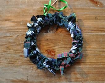 Tartan Wreath, made from Gordon, Scottish National, Cameron and MacKenzie tartan. Scottish Heritage Gift, Scottish Christmas Gift
