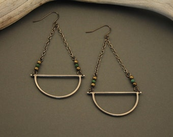 Amulet sterling silver earrings with turquoise and brass beads and gunmetal chain