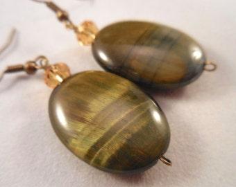 Tiger Eye Crystal Antiqued Brass Earrings