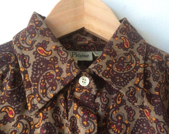 70s Paisley Brown Orange Blouse Women's Small