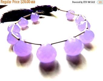 20%off. AAA.Lavender Chalcedony Faceted Onion  Briolettes.10Pcs. in a Size of 9mm to 10mm Approx.