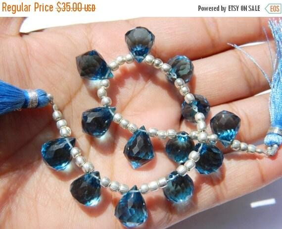 20%off. AAA London Blue Quartz Faceted Fancy Chandelier Briolettes Size 14x10mm 13 Pcs 6 Matched pair 1 Focal Pendant