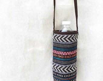 Handmade Tribal Crossbody Water Bottle Holder Carrier