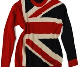 Vintage Sweater English flag Blue Red White Oldschool Hipster Pullovers