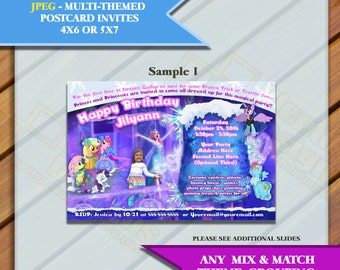 Custom Multiple Themes In One Party  Themed 4x6 or 5x7 Invites - Multiple Samples, Please Choose one, JPEG only, You Print or send as e-card