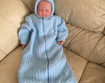 Newborn 0-3 months blue knitted sleeping bag