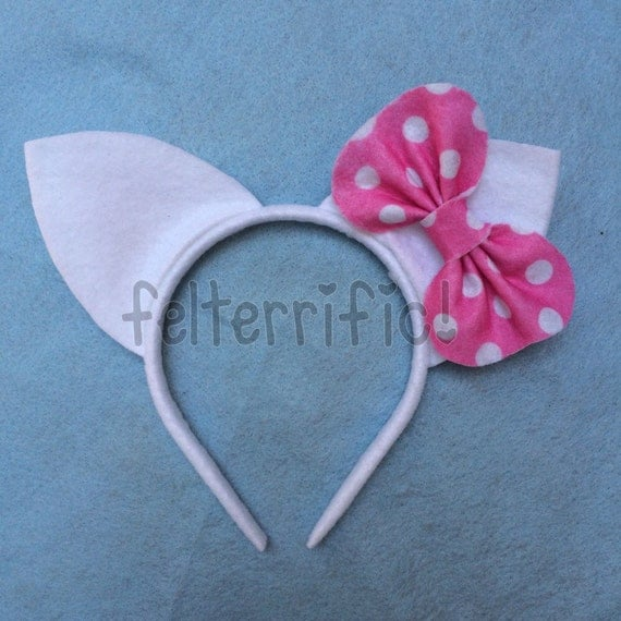 Handmade Cat Ears with Bow Headband
