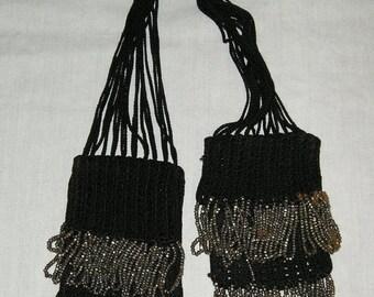 ON SALE Black crocheted misers purse - Civil War era