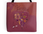 Love Tote Bag, Heart Tote Bag Valentine's Day Gift Inspirational Tote Valentine Tote Hearts and Flowers Tote Dreamcatcher Heart Shopping Bag