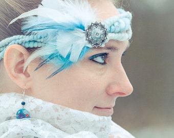 Bridal Headdress, Boho Bridal Headpiece, Flower Head Wreath, Blue Hair Wreath, Fairy Wear, Elven Headpiece, Hobbit Headband Flapper Headband