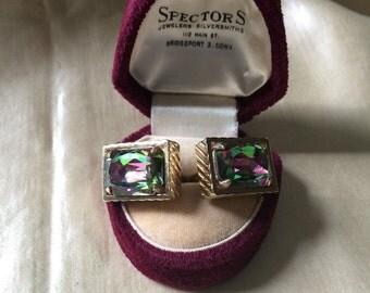1960's Cufflinks / Men's Shirt Accessory / Cufflinks / Jeweled Vintage Cufflinks / Bridegroom Gift / Formal Dress Shirt Accessory