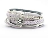 Gray White Bohemian Jewelry, Gray White Silver Boho Bracelet, Gypsy Women Bracelet, Mandala Yoga Bracelet, gift for her, boho chic