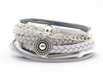 Gray White Bohemian Jewelry, Gray White Silver Boho Bracelet, Gypsy Women Bracelet, Mandala Yoga Bracelet, Christmas gift for her