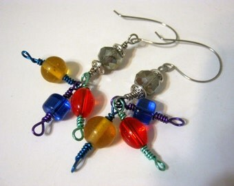 Circus Colored Glass Wire Earrings
