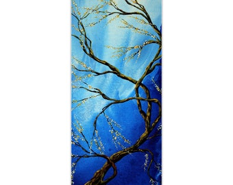 Landscape Painting 'Infinite Heights' by Megan Duncanson - Abstract Tree Art Whimsical Cool Tones on Metal or Acrylic