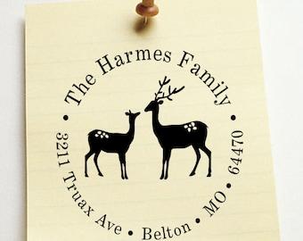 Return address stamp,SELF INKING custom address stamp,personalized stamp,wedding address stamp,family address stamp,deer,R21