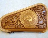 IN STOCK Leather Pistol Case with Hand Tooled Western Floral Pattern with Texas State Seal, Custom Pistol Case, Zippered Pistol Case
