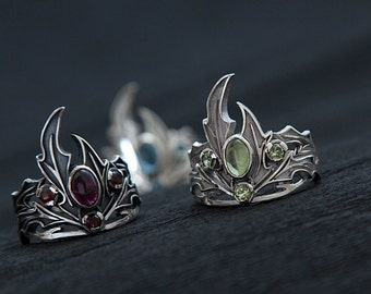 Holly ring | Silver holly ring | Four gems ring