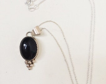 Black opal sterling silver pendent necklace