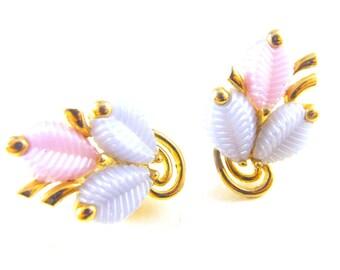 Marboux Earrings Pastel Leaves Thermoset Plastics Designer Signed Vintage Marcel Boucher Clip On Earrings