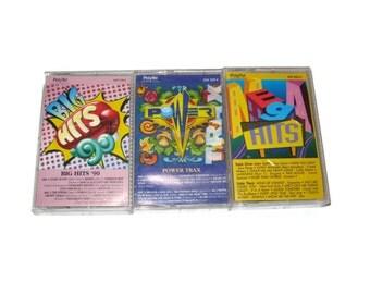 Lot of Vintage cassette tapes 90s pop rap music mixes retro tunes