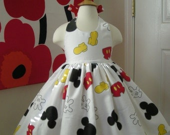 Custom Made to Order Disney Mickey Mouse  party dress Sz 12M to 6T