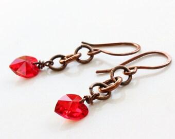 Red Hearts Earrings, Copper earrings,  artisan earrings, Swarovski crystal earrings, modern dangle earrings, valentines day gift, 2271