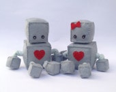 CUSTOM COLOUR mini felt robot softie PAIR