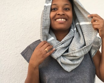 Handwoven Organic Cotton Blue and White Infinity Scarf.