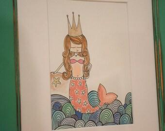 Original mermaid art pen and ink watercolor in reclaimed frame