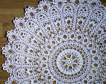 "White crochet doily Round 60 cm / 24"". Crocheted Doily."