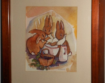 Vintage water color of three rabbit's signed S Glass